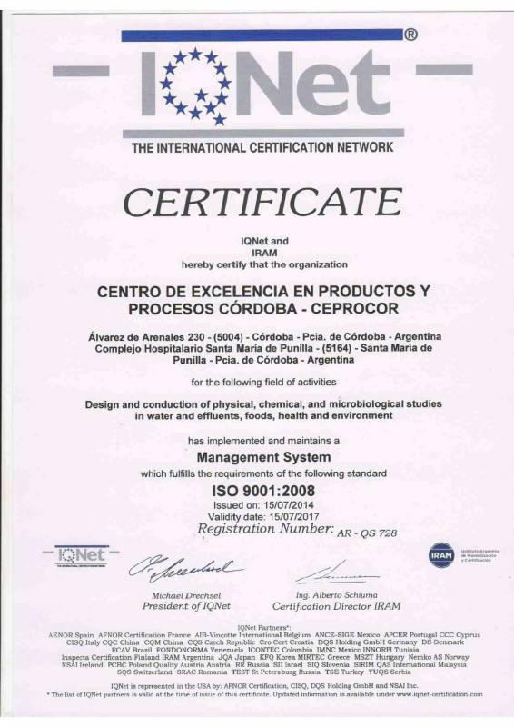 Certificado IQNet2014