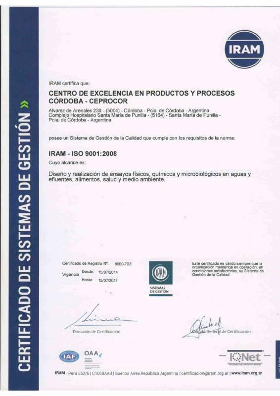 Certificado IRAM 2014