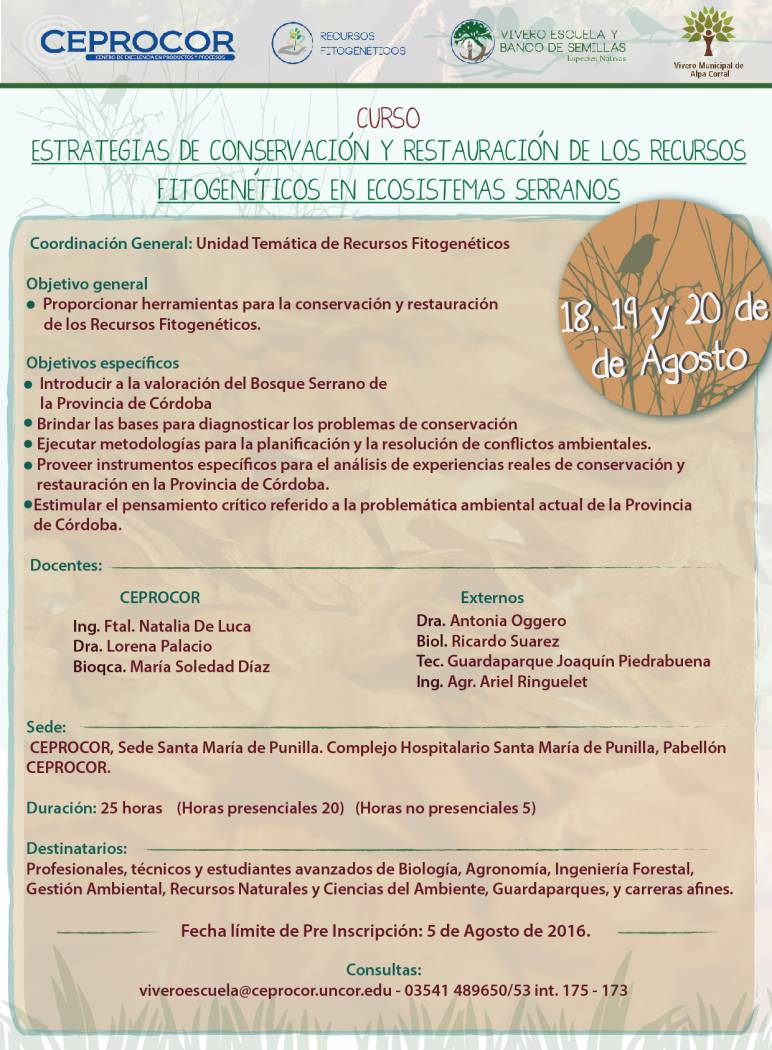 """Curso: """"Estrategias de Conservación y Restauración de los Recursos Fitogenéticos en Ecosistemas Serranos"""""""