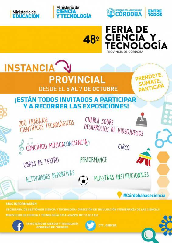 Afiche difusión 48 Feria de Ciencias Córdoba